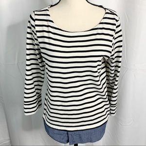 Market & spruce evella striped chambray blouse L